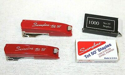 VTG Compact Size Swingline Red Tot 50 Stapler With Box Of  Staples