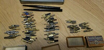 Vintage Antique Ink Well Dip Pens Nib Various Tips Calligraphy Writing Lot of 56