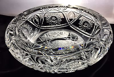 ABP American Brilliant Period Wheel Cut Crystal Glass Ashtray Bowl Dish Antique