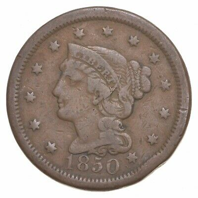Better 1850 Braided Hair US Large Cent Penny Coin Collection Lot Set Break *807