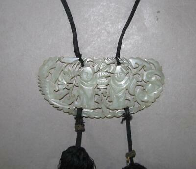 Antique Chinese Carved Jade Plaque, Necklace, Pendant, Figures, Openwork
