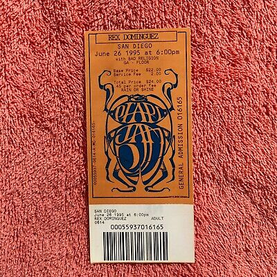 Pearl Jam with Bad Religion Unused Concert Ticket San Diego, CA 6/26/95