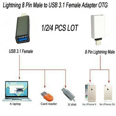 1/2/4 Pcs Lot NEW Lightning 8 Pin Male to USB 3.1 Female Adapter OTG Conveter AU