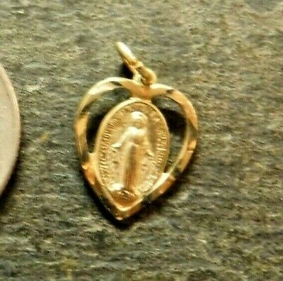 Vintage Petite Catholic Miraculous Medal, Charm, Gold Plated Sterling Silver