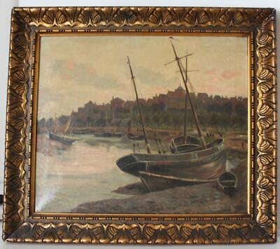 19C English London Harbor Painting w/ Sailboats Artist Signed & Gilt Frame