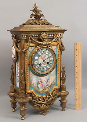 19thC Antique French Mourey Gilded Bronzed Spelter 7 Porcelain Paintings Clock