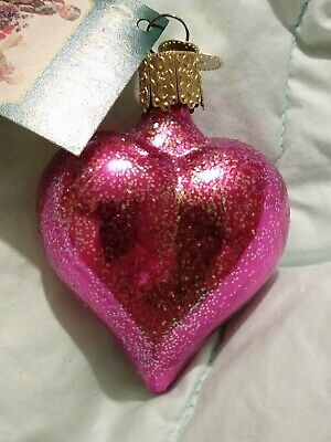 NWT Glittered Shiny Pink Puffy Heart Blown Glass Old World Christmas Ornament