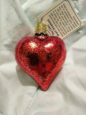 NWT Glittered Shiny Red Puffy Heart Blown Glass Old World Christmas Ornament