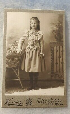 Antique Kinsey Cabinet Card Studio Portrait Young Girl Sedro-Woolley Washington