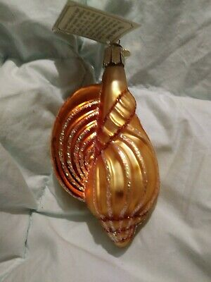 """NWT Glittered Golden Conch Shell Blown Glass Old World Christmas Ornament 4.5"""""""