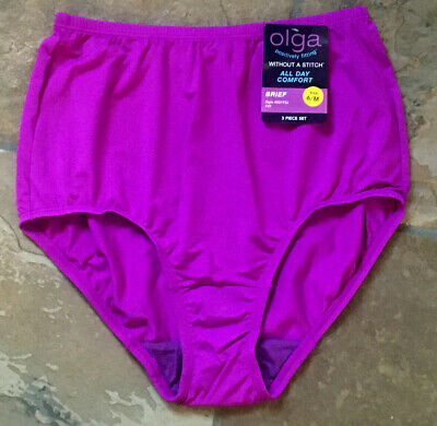 Olga Med Silky Smooth Without a Stitch Purple BRIEF Panties #23173 VTG  NWT