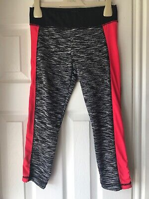 Girls Young Dimentions Primark Cropped Sports Leggings 10-11 Black & Pink