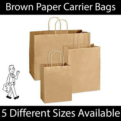 Brown Twist Handle Paper Party Gift Carrier Bag Boutique Bags STRONG Recyclable