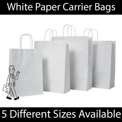 White Twist Handle Paper Party Gift Carrier Bag Boutique Bags STRONG Recyclable