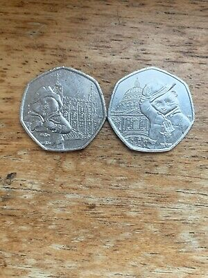 Paddington Bear 2019 50p Coin set of Two Uncirculated From Sealed Bags. Rare.