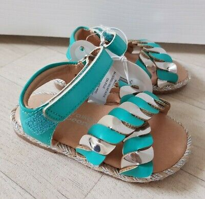 TURQUOISE & SILVER SANDALS size 3 infant HOLIDAY SHOES summer GEORGE girls