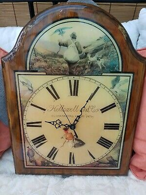 Antique Collectable Wooden Wall Clock Hellowell & Co, Clockmakers Holmfirth