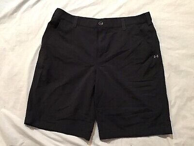 Mens~Under Armour~Polyester Blend ~Casual Shorts~Sz 36~Black~Flat Front