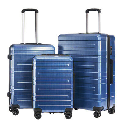 """Durable Set of 3 PC & ABS Carry on Luggage Set Suitcase Spinner TSA 20"""" 24"""" 28"""""""