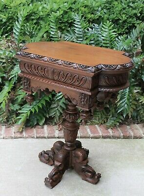 Antique French Walnut Victorian Renaissance Dolphin Pedestal Footed Side Table