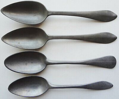 4 c1850's PEWTER TABLE SPOONS - CONTINENTAL - MARKED - TOP CONDITION