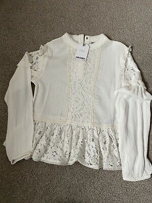 BNWT Next Girls Cream Lace Blouse Aged 9 Yrs