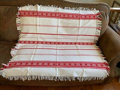 """FOLK ART HUNGARIAN Woven Textiles Red & White 44"""" Square Tablecloth with Fringe"""