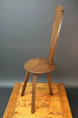 Spinning Wheel Chair / Stool Solid Oak Carved High Back Arts & Crafts