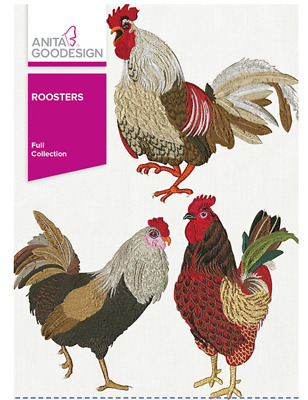 Anita Goodesign Machine Embroidery Pattern - Roosters Full Collection