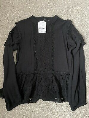 BNWT Next Girls Black Lace Blouse Aged 9 Yrs