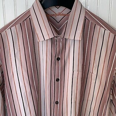 Mens M S TOMMY BAHAMA Mauve SHADOW STRIPE LS SHIRT Full BUTTON FRONT Long Sleeve
