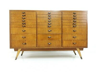 Antique Industrial 1920s Retail Shop Bank Of Drawers In Oak