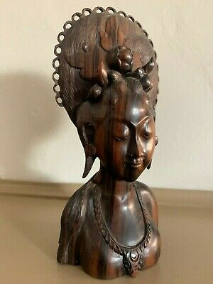 Vintage Wood Carved Indonesian Bust Sculpture Woman Bali