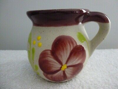 Red Clay Pottery Mexican Coffee Mug, Hand Painted Floral Design