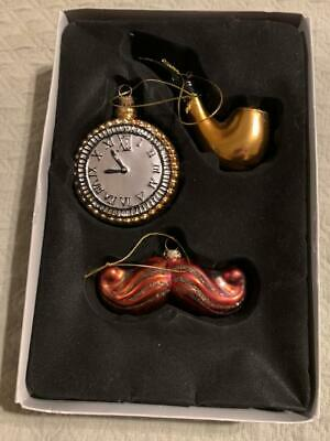 Hand Crafted Glass Lot of 3 Christmas Ornaments Pipe Mustache & Pocket Watch EUC