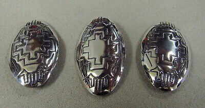 Three Southwest Sterling Silver Domed Oval Conchos with Chicago Screws