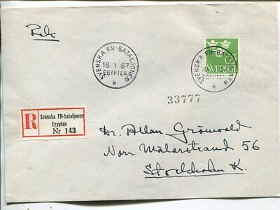 United Nations reg cover from Swedish UN Forces in Egypt 1957