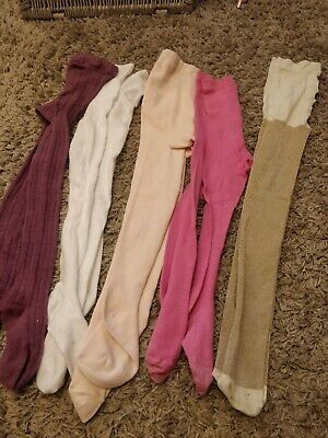 Age 5-6 Tights, Bundle 5 Pairs, pink, gold purple white