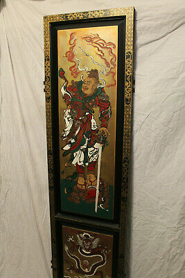 Rare Antique Chinese Hand Painting Divider Panel Warrior Immortal Gold Brass