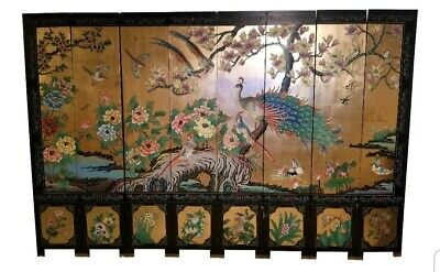 Vintage Hand Painted 8 Panel Oriental Asian Peacock Screen Room Divider