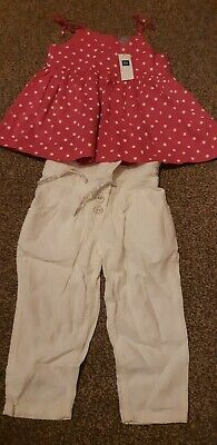 Girls GAP BNWT pink top & Next new linen trousers