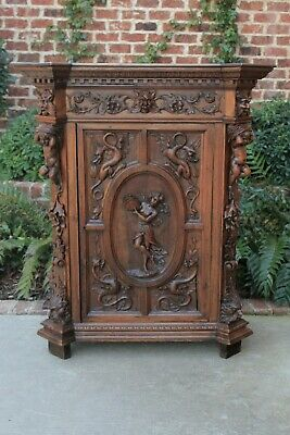 Antique French Cabinet GOTHIC Highly Carved Cabinet Cupboard Bar Liquor Walnut