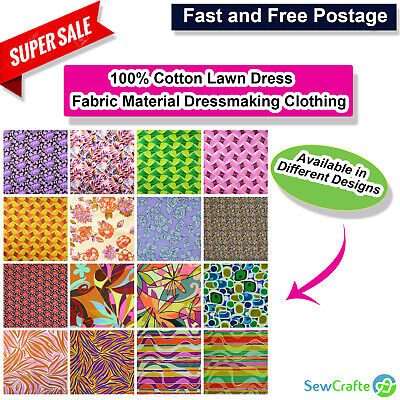 """100% Cotton Lawn Dress Fabric Material Dressmaking Clothing Sewing Quilting 60"""""""