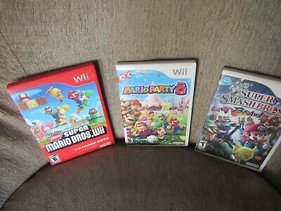 Wii Super Mario brothers Lot 3 Brawl Party cases