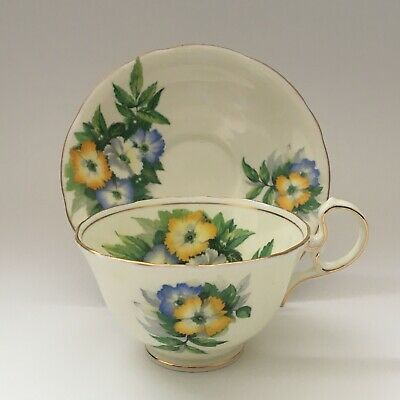 Aynsley Teacup And Saucer Bone China England Blue White Yellow Flowers Gold Trim