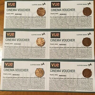6 x VUE CINEMA VOUCHERS - CLUB LLOYDS (Valid until 8/2/2021)