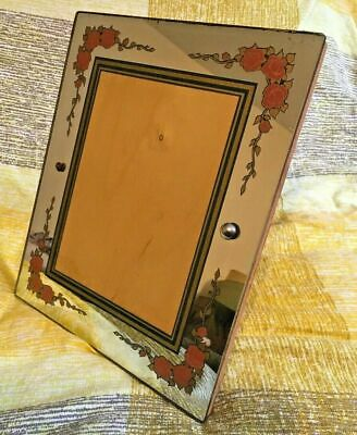 """Vintage 40s Glass Backed Red Floral Green Mirrored Picture Frame Stand 10""""Wx12"""""""