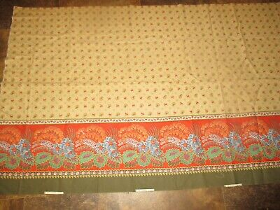 PRETTY Vintage BLUE RED FLOWERS ON BROWN 1970's Border COTTON Fabric-over 1 yd