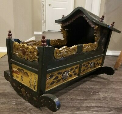 Rare Antique Infant Baby Rocking Cradle Carved Wood Original Folk Art Hand Paint