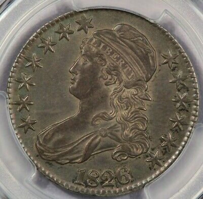 1826 Capped Bust half PCGS AU53 Beautiful pastel toning hiding in the luster!